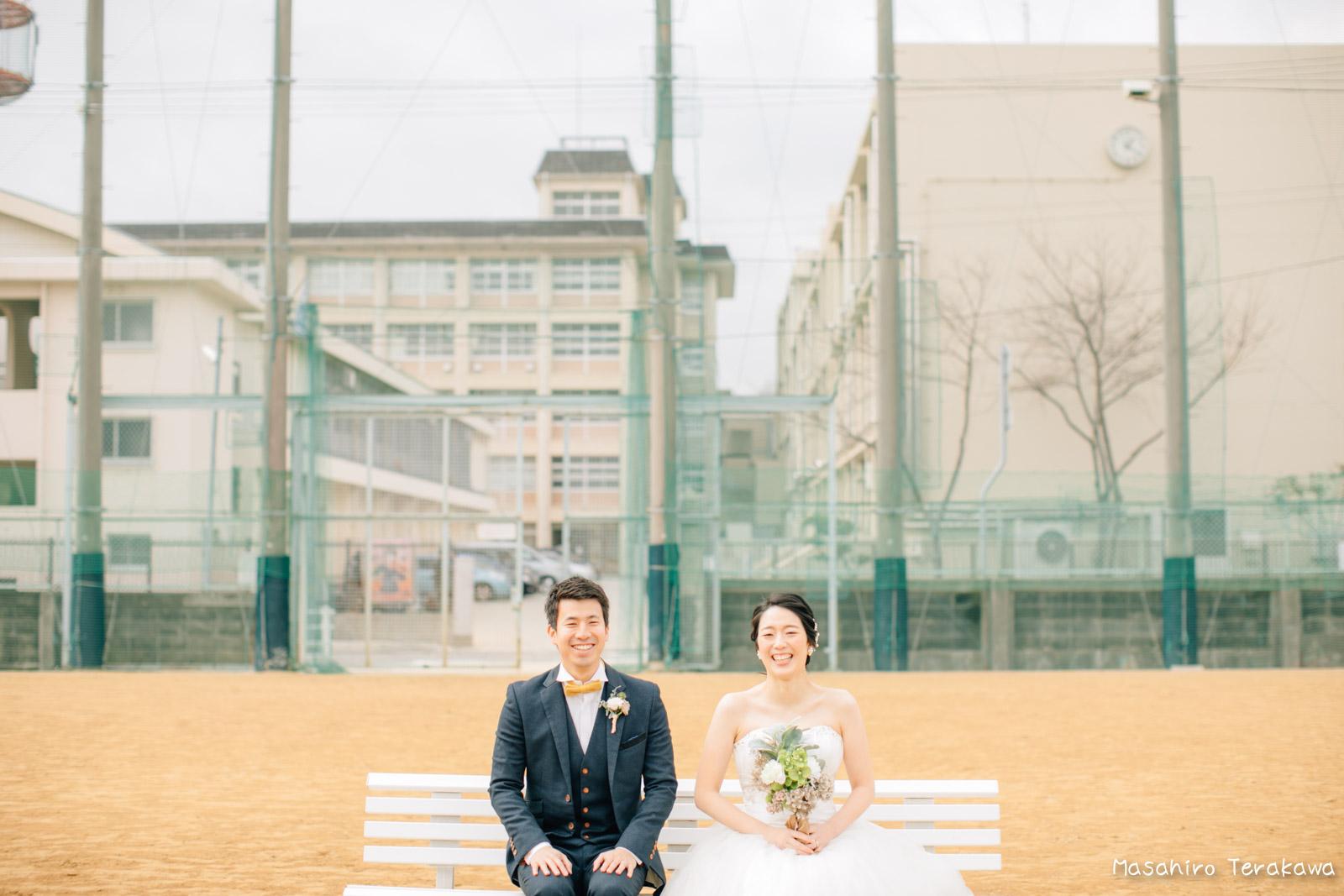 神戸の学校(母校)にて結婚式前撮り1
