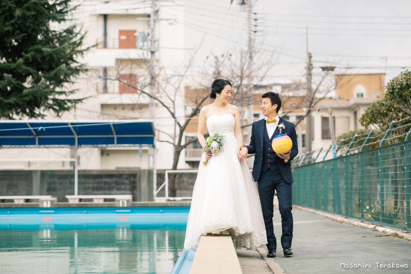 神戸の学校(母校)にて結婚式前撮り6