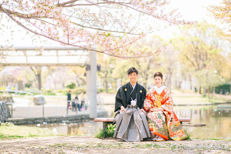 【大阪】鶴見緑地公園で結婚式の和装・洋装前撮り4